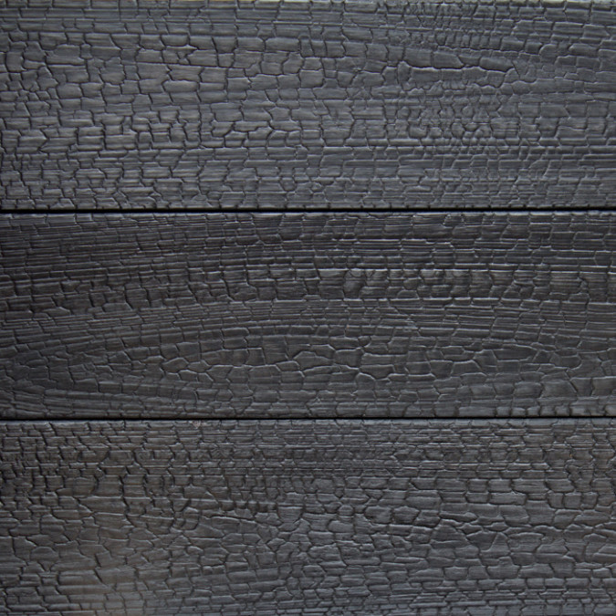 Detalle Acabado madera exterior con tratamiento mediante quemado