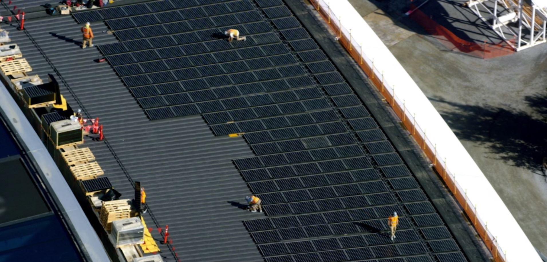 Paneles solares en cubierta apple park